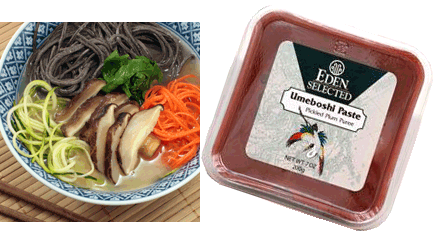 Make up batch of this Ginger Umeboshi Broth and serve it over cooked black bean pasta along with some raw veggies. Quite nourishing and delightful!