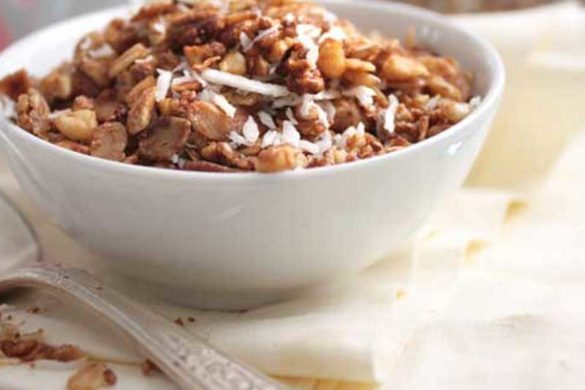This Easy Gluten-Free Granola Recipe makes for a convenient and quick breakfast. Serve it with milk or atop a bowl of yogurt.