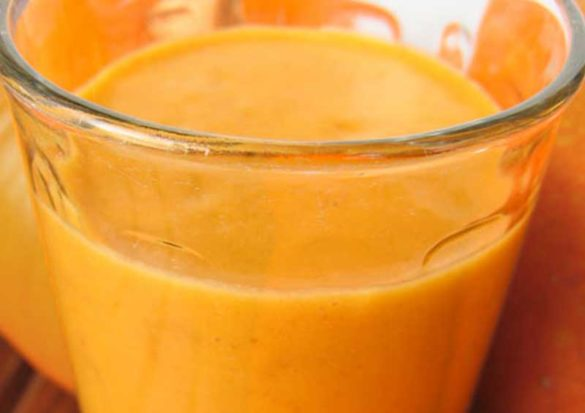 This Creamy Pumpkin Smoothie is loaded with vitamin A and antioxidant carotenoids and is a good source of vitamins C, K and E, and lots of minerals, including magnesium, potassium and iron. I'll drink to that!