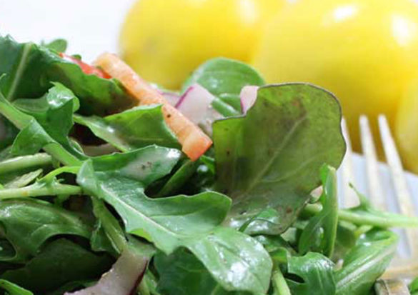 Meyer lemons are in season right now and they really shine in this Baby Arugula Salad with Lemon Vinaigrette dressing.