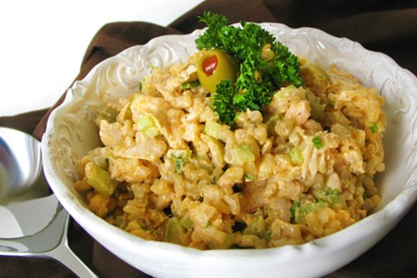 Shrimp Curry Rice Salad makes an easy potluck side dish. This winner was a recipe given to my grandmother by grandpa's Commanding Officer at Barber's Point way back in the day.