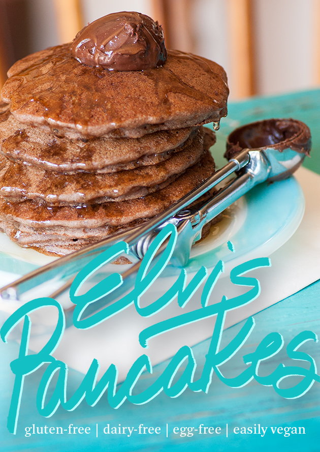 Hubby had left the chocolate peanut butter out on the counter—and there was my inspiration gluten free vegan Elvis pancakes.
