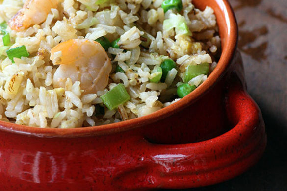 This Pink & Green Shrimp Fried Rice is representative of flavors you'd find at the Hawaiian sugar plantation potlucks of my youth. Yum!