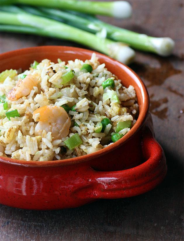 Pink & Green Shrimp Fried Rice