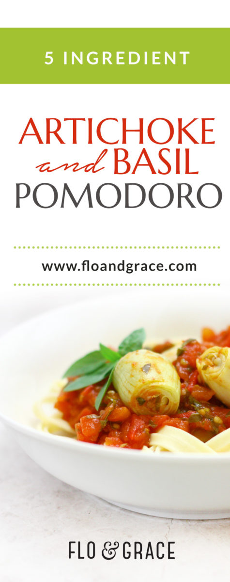 This Artichoke Basil Pomodoro calls for just 5 ingredients and makes the perfect end of summer pasta topper. PALEO | VEGETARIAN | VEGAN